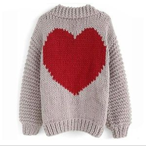 Chicwish Red Heart Hand Knit Chunky Cardigan OS